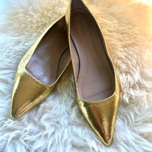 J. Crew Gold Pointed Flats sz 11